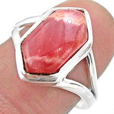 5.87cts hexagon rhodochrosite inca rose silver solitaire ring size 8.5 t48585