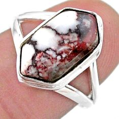 5.11cts hexagon wild horse magnesite 925 silver solitaire ring size 7 t48556