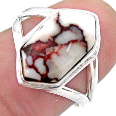 5.84cts hexagon wild horse magnesite 925 silver solitaire ring size 7 t48574
