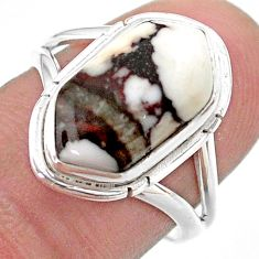 5.38cts hexagon wild horse magnesite 925 silver solitaire ring size 7 t48602
