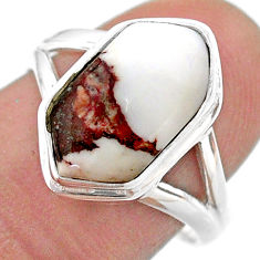 5.84cts hexagon wild horse magnesite 925 silver solitaire ring size 8 t48595