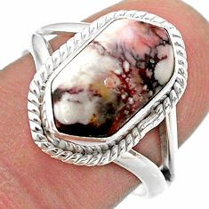 5.38cts hexagon wild horse magnesite 925 silver solitaire ring size 8 t48603