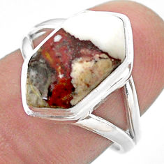 5.63cts hexagon wild horse magnesite 925 silver solitaire ring size 7.5 t48589