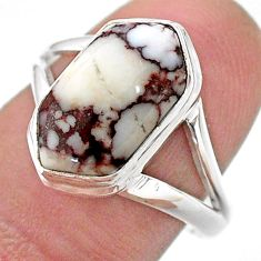 5.58cts hexagon wild horse magnesite 925 silver solitaire ring size 8.5 t48614