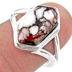 6.02cts hexagon wild horse magnesite 925 silver solitairering size 8.5 t48522