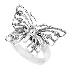 6.48gms indonesian bali style solid 925 silver butterfly ring size 8.5 c25865
