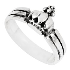 2.47gms indonesian bali style solid 925 silver crown charm ring size 6.5 c17051