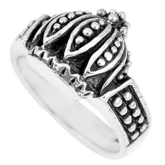 5.03gms indonesian bali style solid 925 silver crown ring size 6.5 c17101