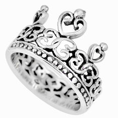 5.26gms indonesian bali style solid 925 silver crown ring size 8.5 c17114