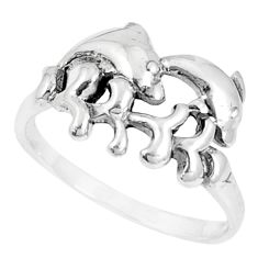 3.48gms indonesian bali style solid 925 silver dolphin ring size 8 c25880