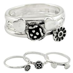 Indonesian bali style solid 925 silver flower 3 band rings size 8.5 c20944
