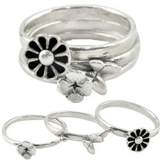 Indonesian bali style solid 925 silver flower 3 band rings size 8.5 c20945