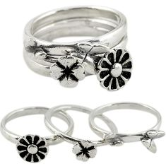 Indonesian bali style solid 925 silver flower 3 band rings size 5.5 c20948