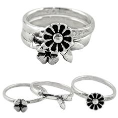 Indonesian bali style solid 925 silver flower 3 band rings size 6.5 c20950