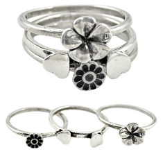 Indonesian bali style solid 925 silver flower 3 band rings size 7.5 c20951