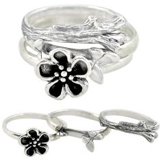 Indonesian bali style solid 925 silver flower 3 band rings size 4.5 c22229