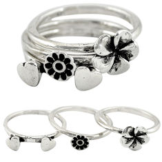 Indonesian bali style solid 925 silver flower 3 band rings size 7.5 c22230