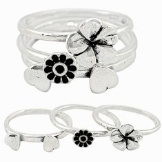 Indonesian bali style solid 925 silver flower 3 band rings size 6.5 c22234