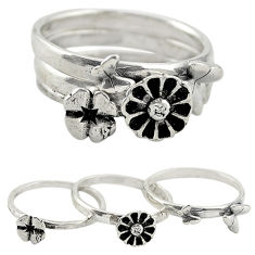 Indonesian bali style solid 925 silver flower 3 band rings size 6.5 c22236