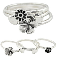 Indonesian bali style solid 925 silver flower 3 band rings size 7.5 c22242