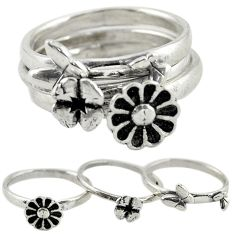 Indonesian bali style solid 925 silver flower 3 band rings size 6 c20956