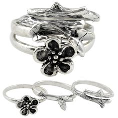 Indonesian bali style solid 925 silver flower 3 band rings size 6 c22238