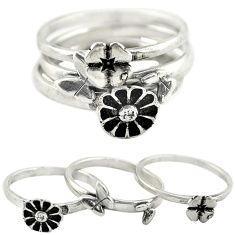 Indonesian bali style solid 925 silver flower 3 band rings size 7 c22227