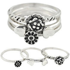 Indonesian bali style solid 925 silver flower 3 band rings size 8 c22237