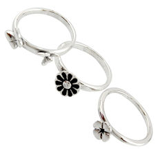 5.69gms indonesian bali style solid 925 silver flower 3 rings size 5.5 c9864