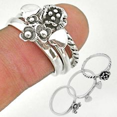 7.26gms indonesian bali style solid 925 silver flower 3 rings size 6 t20637