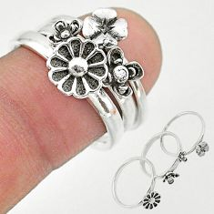 6.41gms indonesian bali style solid 925 silver flower 3 rings size 7 t20627
