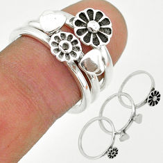 6.69gms indonesian bali style solid 925 silver flower 3 rings size 7 t20631