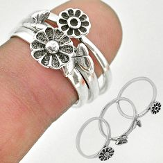 5.89gms indonesian bali style solid 925 silver flower 3 rings size 7 t20638