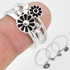 6.69gms indonesian bali style solid 925 silver flower 3 rings size 6.5 t20625