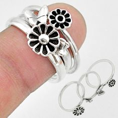 6.89gms indonesian bali style solid 925 silver flower 3 rings size 6.5 t20628