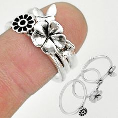 6.26gms indonesian bali style solid 925 silver flower 3 rings size 6.5 t20633
