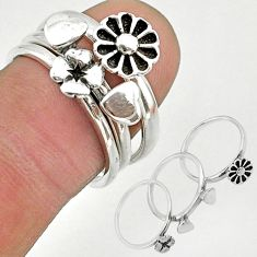 6.86gms indonesian bali style solid 925 silver flower 3 rings size 6.5 t20636