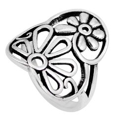 4.69gms indonesian bali style solid 925 silver flower ring size 7.5 c20405