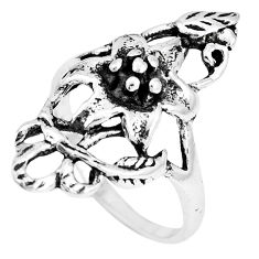 5.02gms indonesian bali style solid 925 silver flower ring size 8.5 c20408