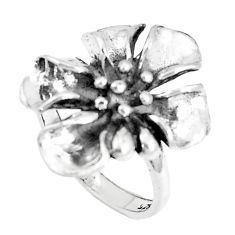 4.87gms indonesian bali style solid 925 silver flower ring size 6.5 c25870