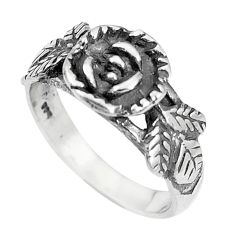 4.89gms indonesian bali style solid 925 silver flower ring size 8.5 c25879