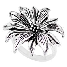 7.69gms indonesian bali style solid 925 silver flower ring size 6 c17092
