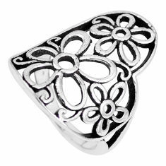 3.89gms indonesian bali style solid 925 silver flower ring size 6 c20417