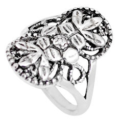 5.26gms indonesian bali style solid 925 silver flower ring size 7 c17067