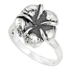4.25gms indonesian bali style solid 925 silver flower ring size 7 c25869