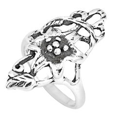5.26gms indonesian bali style solid 925 silver flower ring size 8 c20409