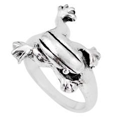 6.26gms indonesian bali style solid 925 silver frog charm ring size 8.5 c20793
