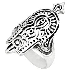 Indonesian bali style solid 925 silver hand of god hamsa ring size 7 c20965