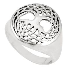 4.69gms indonesian bali style solid 925 silver tree of life ring size 7 c20794