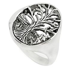 4.48gms indonesian bali style solid 925 silver tree of life ring size 6.5 t6259